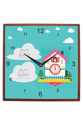 Tooned Square Wooden Wall Clock