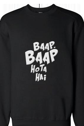 Baap Baap White Print Black Sweatshirt