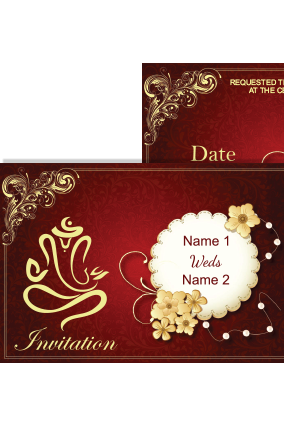 Maroon Color Wedding Invitation Card