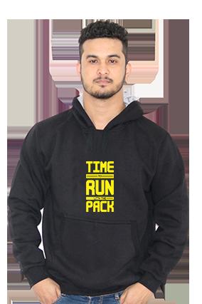 Time To Run With Pack Full Sleeves Black Hoodie