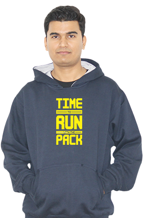 Time to Run With Pack Full Sleeves Navy Blue Hoodie