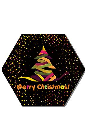 Designer Tree Merry Christmas Hexa Coaster
