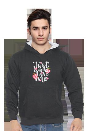 Just You & Me Customised Full Sleeves Black Hoodie
