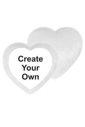 Create Your Own Fur Heart Shape White LED Cushion
