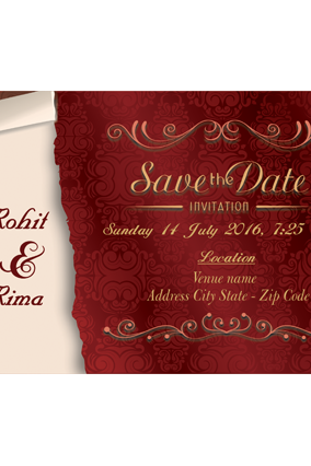 Colored Wedding Invitation Card