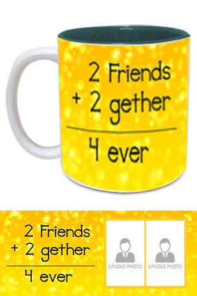 Friends Forever Printed Inside Green Mug