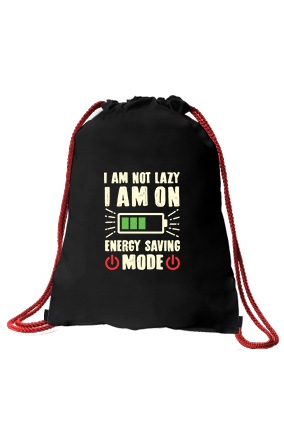 I am Not Lazy Black Sack Bag