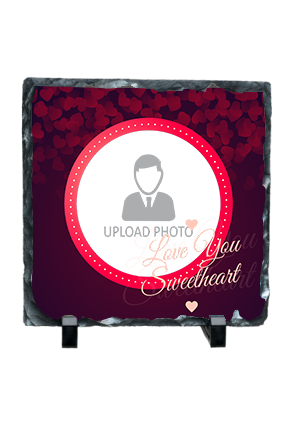 Love You Sweetheart Customized Valentine Square Photo Rock