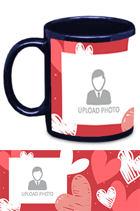 Custom Photo with Heart Blue Patch Mug