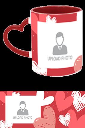 Custom Photo with Heart Heart Handle Inside Maroon Mug