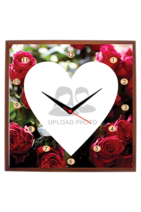 Red Roses Square Wooden Wall Clock