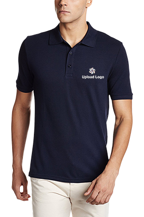 Corporate Upload Logo Navy Blue Cotton Polo T-Shirt - 82288512