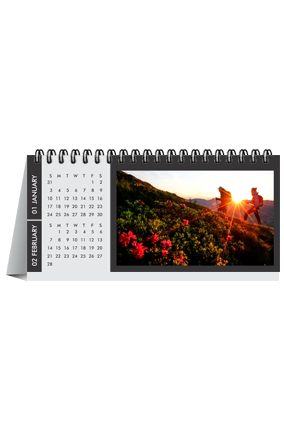 Black and White Desk Photo Calendar(8.2 x 3.7 Inches) - 6 Leaves