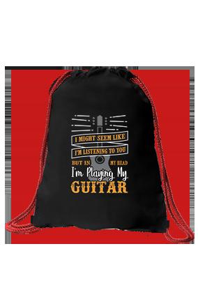 I am Playing My Guitar Black Sack Bag