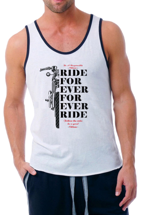 Ride For Ever For Ever Ride Poly Cotton Sleeveless Gym and Sportswear Tank Tops Sports Tshirt or Vests for Men