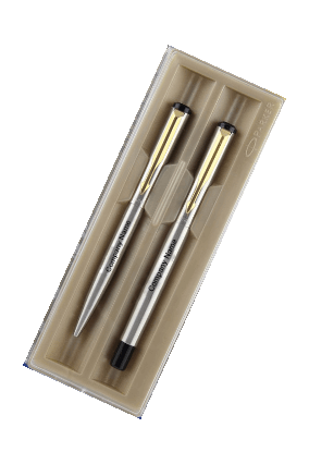 Parker Ve Chrome Trimor Stainless Steel Gold Trim Fountain Pen + Ball Pen with Free Gift Wrap Sleeve