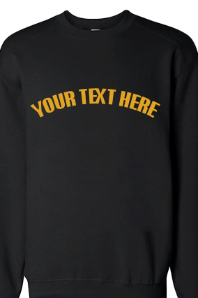 Custom Text Curve Yellow Print Black Sweatshirt