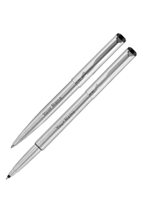 Parker Ve Chrome Trimor Stainless Steel Chrome Trim Roller Ball Pen + Ball Pen with Free Gift Wrap Sleeve