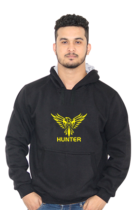 Cool Eagle Hunter Full Sleeves Black Hoodie