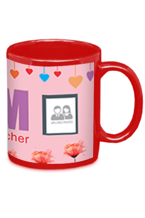 Awesome Mom Is Best Teacher Red Patch Mug