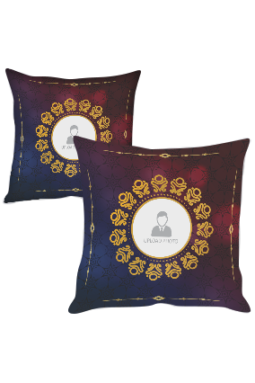 Blue and Gold with Photo Polyester Cushion Cover