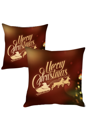 Christmas Tree Frame Merry Christmas Cushion Cover