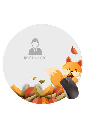 Cute Fox and Colorful Leaves Round Mouse Pad