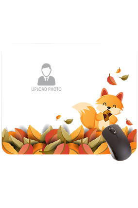 Customized Cute Fox and Colorful Leaves Rectangular Mouse Pad