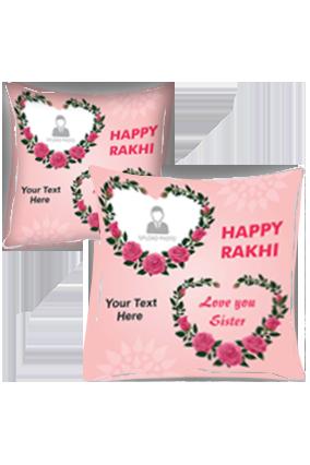 Lovely Sister Pink Photo Printed Raksha Bandhan Cushion Cover