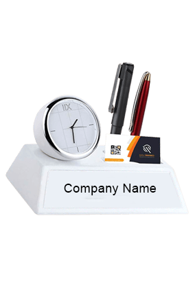 Table Clock With Double Pen Holder and Card Holder White-A128