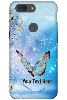 Personalized 3D-OnePlus 5T Blue Butterfly Mobile Cover