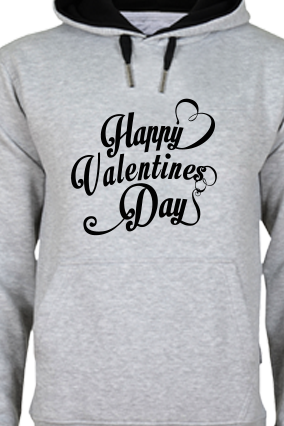 Cool Valentine's Day Black Print Gray Hoodie