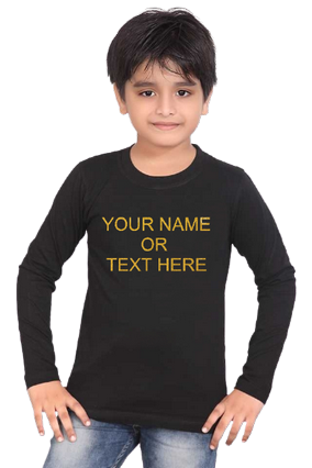 Custom Text with Glitter Print, Your Glitter Text Here Black Round Neck Cotton Full Sleeve Kids T-Shirt
