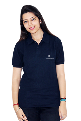 Printed Upload Logo Black Cotton Girl Polo T-Shirt