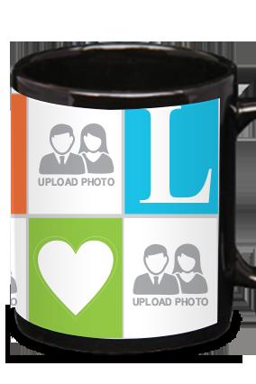 Customised Love In Air Black Patch Mug