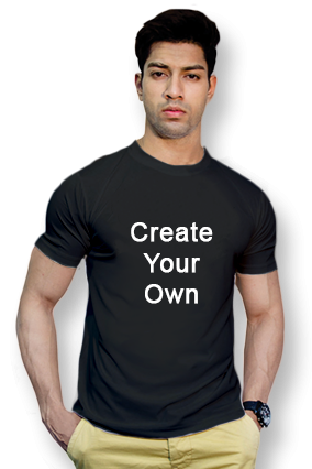 160GSM - Create Your Own Black Round-Neck Cotton T-Shirt