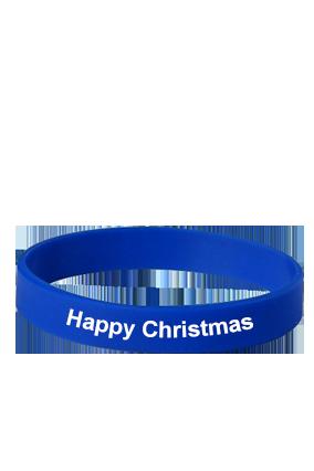 Happy Christmas Blue Silicon Wristband