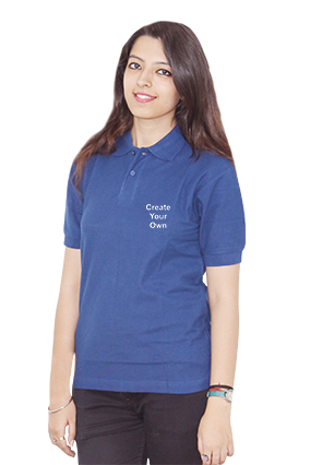 Amazing Create Your Own Blue Cotton Girl Polo T-Shirt