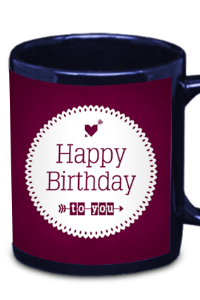 Birthday Wishes Blue Patch Mug