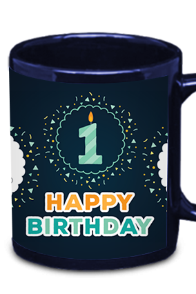 Candle & Birthday Blue Patch Mug