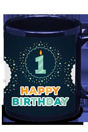 Candle & Birthday Blue Patch Mug