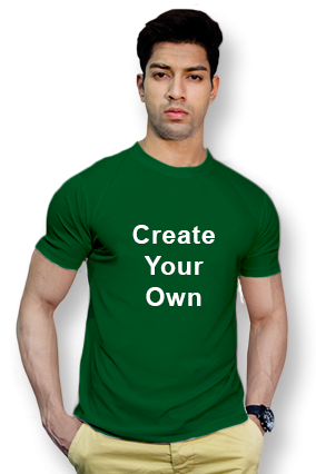 160GSM - Create Your Own Bottle Green Round-Neck Cotton T-Shirt