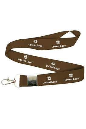 Upload Logo Brown Lanyard