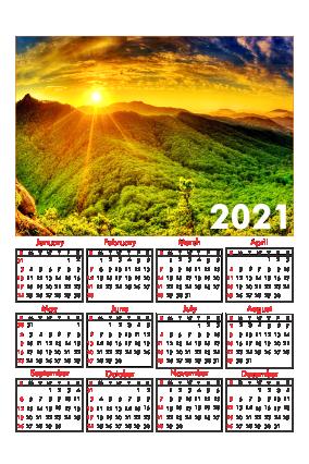 White Designer Poster Calendar 2021