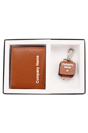 2-In-1 Set Leatherite Ostrich Gents Wallet Keyring Box Code-GE 120