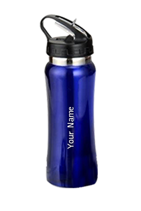 Curved Sipper With Straw GM-213 Blue Water Bottle
