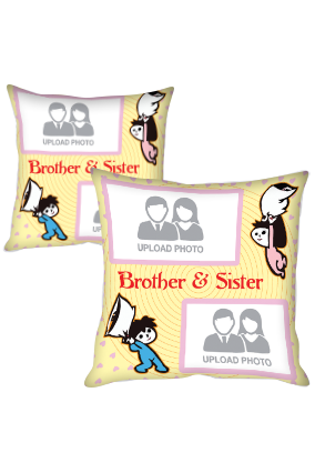 Brother & Sister Pillow Fight Polyester Cushion Cover