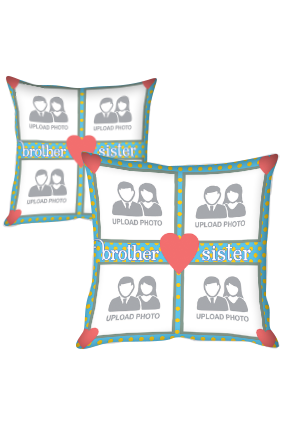 Collage Type Print Polyester Cushion Cover