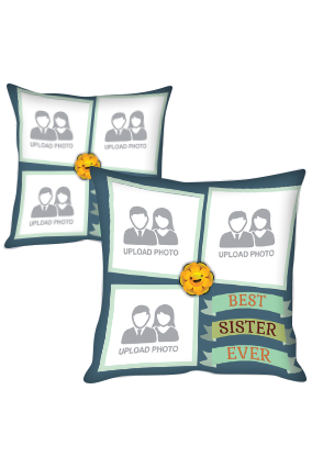 Best Sister Ever Collage Polyester Cushion Cover