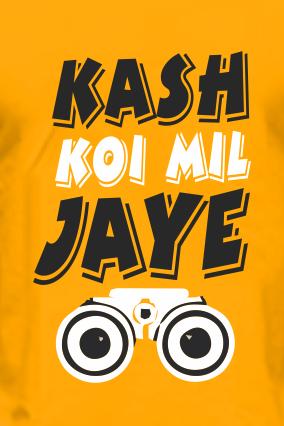Kash Koi Mil Jaye Half Sleeves Yellow Round Neck Cotton Effit T-Shirt